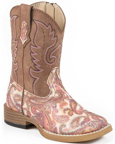 Roper Toddler Glitter Paisley Cowgirl Boots - Square Toe