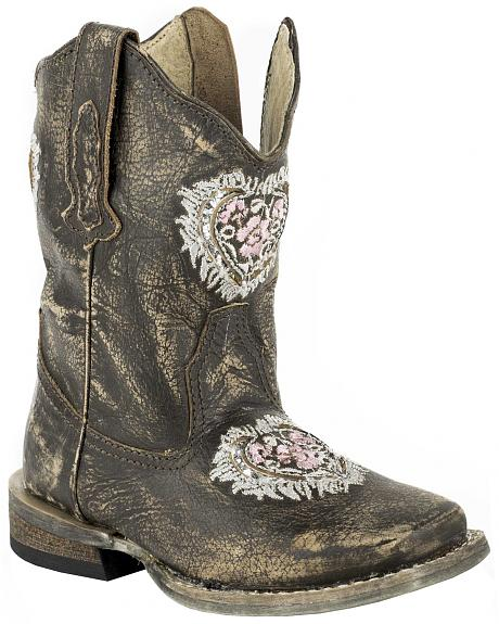 Roper Toddler Girls' Destiny Floral Heart Inside Zip Cowgirl Boots - Square Toe