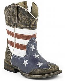 Roper Toddler Boys' American Flag Inside Zip Cowboy Boots - Square Toe