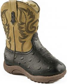 Roper Infant Boys' Black and Tan Ostrich Print Cowbabies Boots