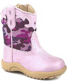 Roper Infant Girls' Pink Glitter Camo Cowbabies Boots