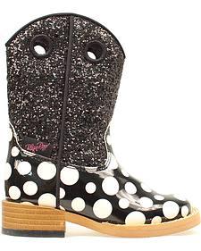 Blazin Roxx Girls' Zip Pearl Polka Dot Glitter Boots - Round Toe