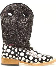Blazin Roxx Girls' Pearl Polka Dot Glitter Boots