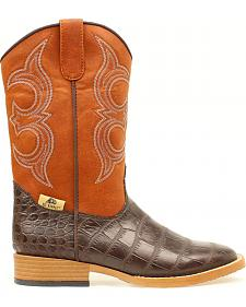 Double Barrel Youth Boys' Gator Print Boots - Round Toe
