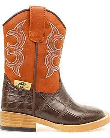 Double Barrel Toddler Boys' Bronc Gator Cowboy Boots - Square Toe
