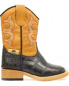 Double Barrel Toddler Boys' Zip Bronc Gator Cowboy Boots - Square Toe