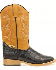 Double Barrel Boys' Bronc Gator Cowboy Boots - Square Boots