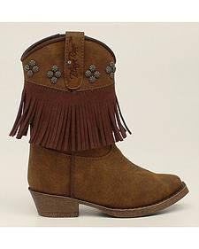 Blazin Roxx Toddler Girls' Annabelle Fringe Zip Cowgirl Boots - Snip Toe