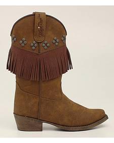 Blazin Roxx Girls' Annabelle Fringe Cowgirl Boots - Snip Toe