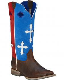 Ariat Youth Boys' Ranchero Patriotic Cowboy Boots - Square Toe