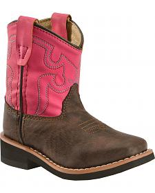 Swift Creek Toddler Girls' Chocolate and Raspberry Cowgirl Boots - Round Toe