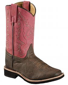 Swift Creek Girls' Chocolate and Raspberry Cowgirl Boots - Square Toe