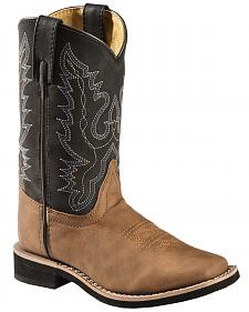 Swift Creek Youth Boys' Black and Tan Cowboy Boots - Square Toe