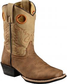 Swift Creek Youth Boys' Brown Cowboy Boots - Square Toe