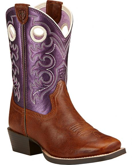 Ariat Childrens' Crossfire Cowgirl Boots - Square Toe