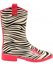 Blazin Roxx Jane Zebra Cross Rain Boots - Square Toe