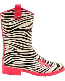Blazin Roxx Jane Zebra Cross Rain Boots - Square Toe