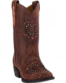 Dan Post Youth Girls' Studded Heart Suede Cowgirl Boots - Pointed Toe