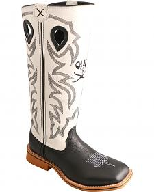 Twisted X Kid's Black and White Buckaroo Cowboy Boots - Square Toe