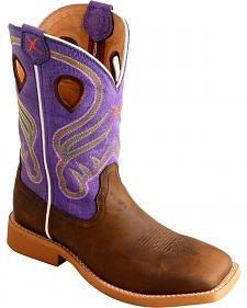Twisted X Kid's Purple Ruff Stock Western Boots - Square Toe