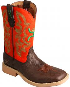 Twisted X Kid's Red and Green Hooey Cowboy Boots - Square Toe