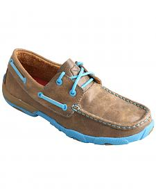 Twisted X Kids' Brown and Neon Blue Driving Mocs
