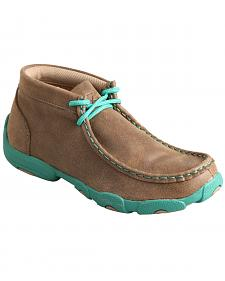 Twisted X Kid's Brown and Turquoise Leather Driving Mocs
