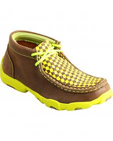 Twisted X Kids' Yellow Checkerboard Driving Mocs