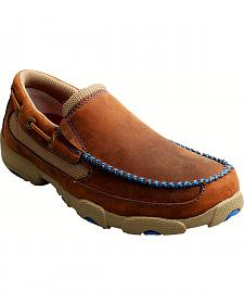 Twisted X Boys' Brown and Blue Leather Driving Mocs