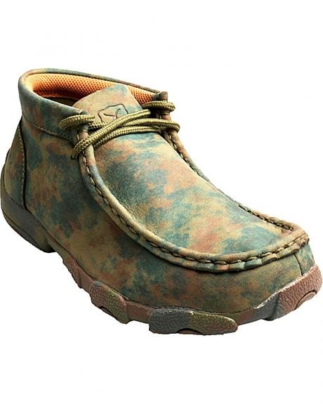 Twisted X Kid's Camo Leather Driving Mocs