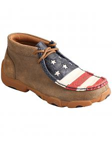 Twisted X Brown Leather American Flag Driving Mocs