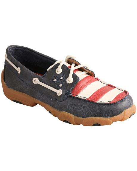 Twisted X American Flag VFW Leather Driving Mocs