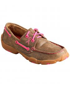 Twisted X Kid's Brown and Pink Driving Mocs