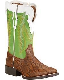 Ariat Youth Boys' Elephant Print Buscadero Cowboy Boots - Square Toe