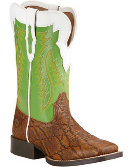Ariat Youth Boys' Elephant Print Buscadero Cowboy Boots - Square Toe