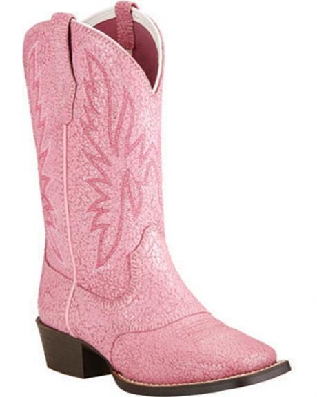 Ariat Girls' Pastel Pink Outrider Cowgirl Boots - Square Toe