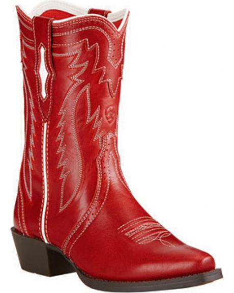 Ariat Youth Girls' Red Calamity Rodeo Cowgirl Boots - Snip Toe