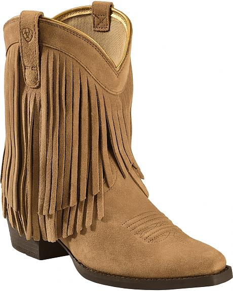 Ariat Youth Girls' Gold Rush Rustic Brown Fringe Cowgirl Boots - Snip Toe
