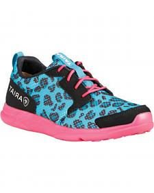 Ariat Youth Girls' Fuse Blue Leopard Mesh Shoes