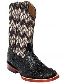 Ferrini Girls' Crocodile Print Cowgirl Boots - Square Toe