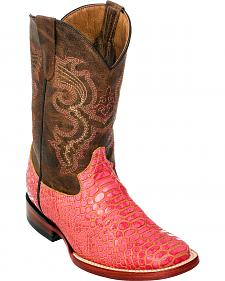 Ferrini Girls' Pink Python Print Cowgirl Boots - Square Toe