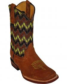 Ferrini Boys' Green Chevron Cowboy Boots - Square Toe