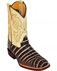Ferrini Boys' Chocolate Caiman Belly Print Cowboy Boots - Square Toe