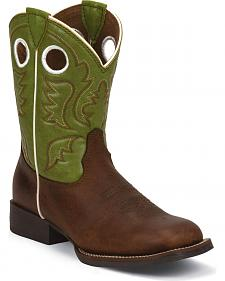Justin Junior Cognac Ponteggio Bent Rail Cowboy Boots - Kid's Square Toe