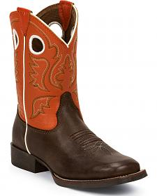 Justin Junior Chocolate America Bent Rail Cowboy Boots - Kid's Square Toe