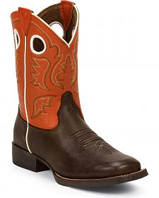 Justin Youth Chocolate America Bent Rail Cowboy Boots - Square Toe