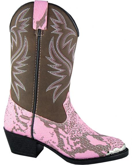 Smoky Mountain Youth Girls' Cody Snake Print Western Boots - Round Toe