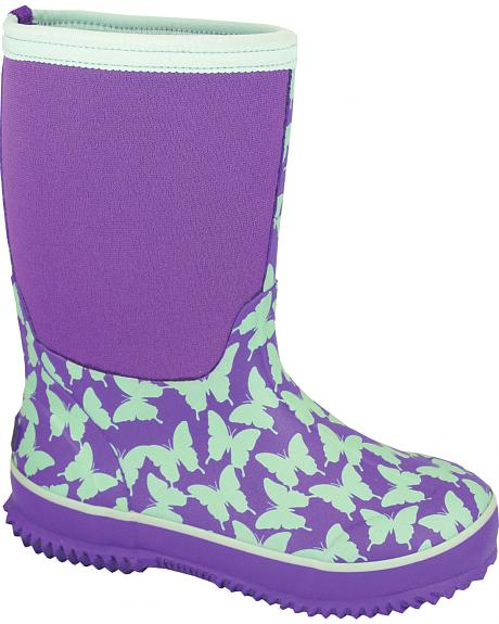 Smoky Mountain Youth Girls' Butterfly Waterproof Boots