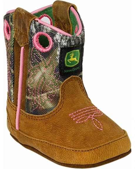 John Deere Infant Girls' Johnny Popper Camo Western Crib Boots