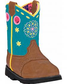 John Deere Toddler Girls' Johnny Popper Floral Western Boots - Square Toe